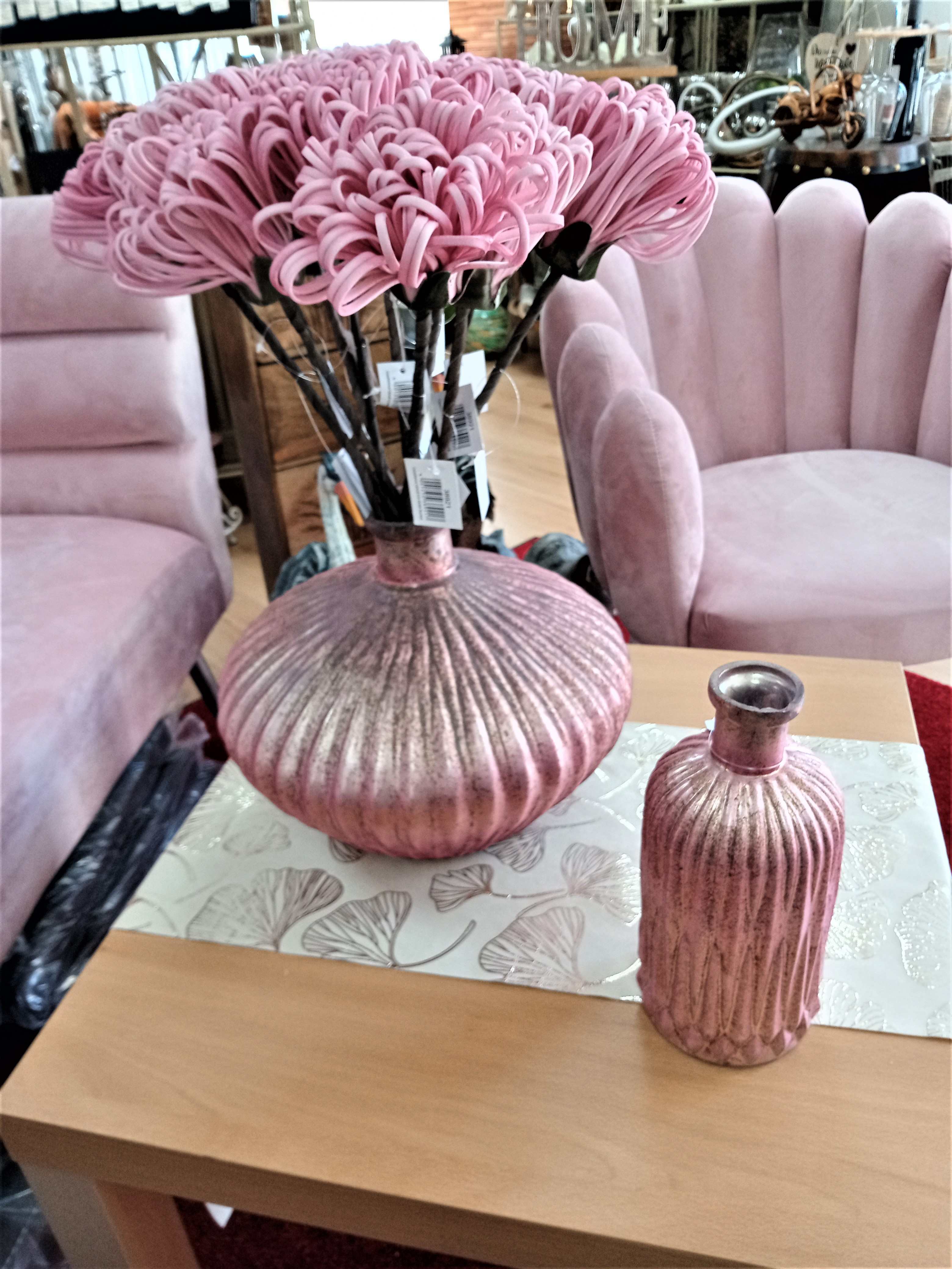 Gilde Flaschenvase Rosy aus Glas rosa/antik