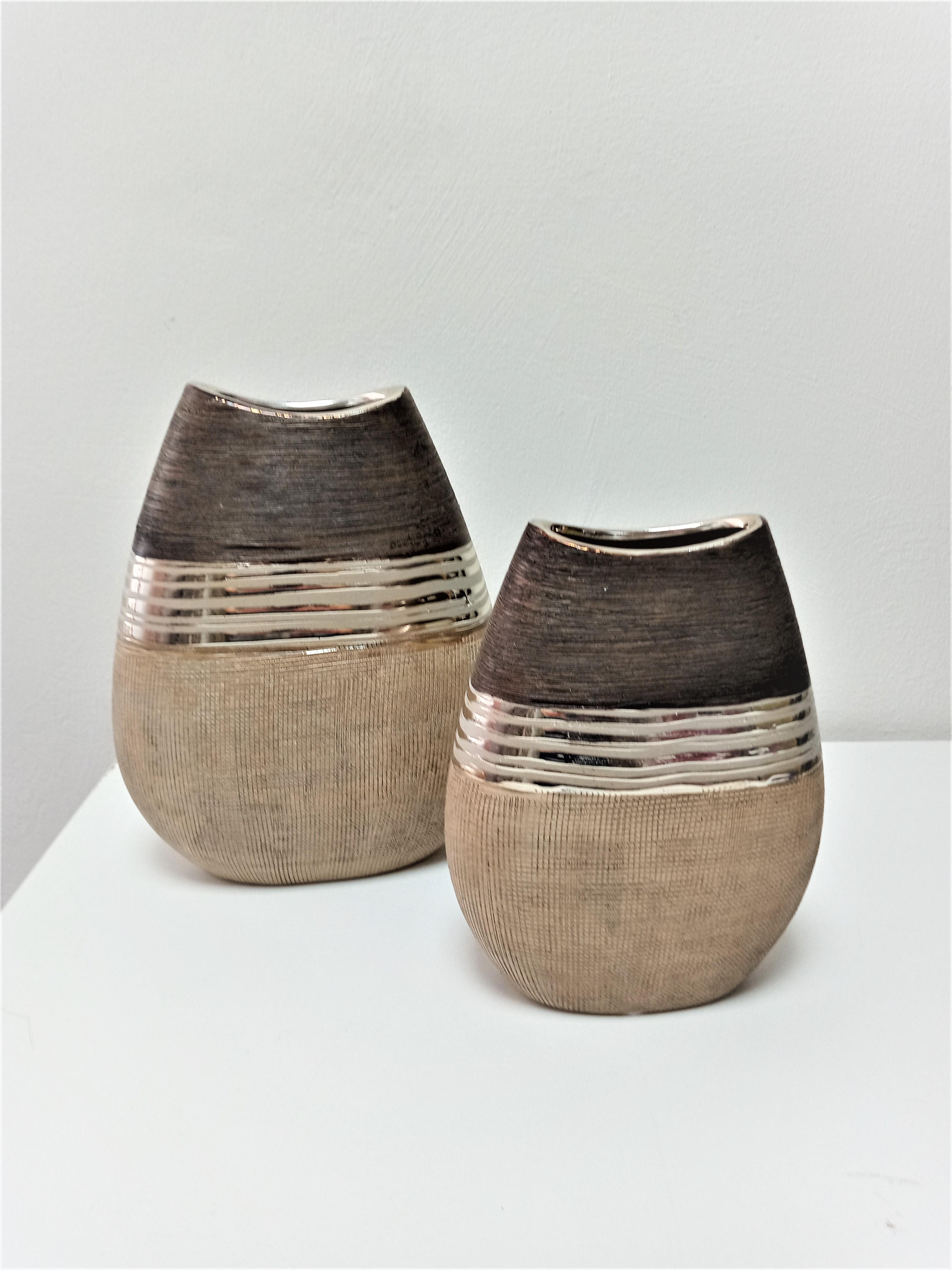 Gilde Keramik  flache Vase Bradora braun/gold